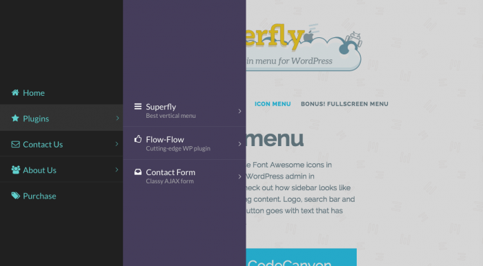A Superfly menu unfolded into two layers as one of the main categories is selected.