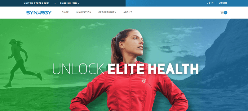 Synergy Worldwide website screenshot showing a young woman in athletic gear looking confident over background images suggesting activity.