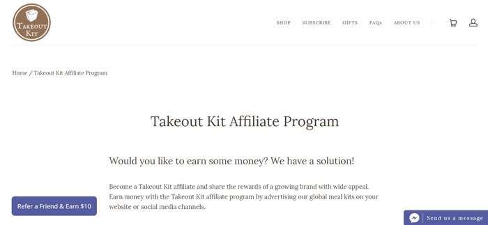 screenshot of the affiliate sign up page for