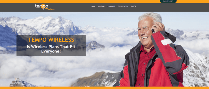 Tempo Wireless website screenshot showing an older man on his phone with mountains in the background.
