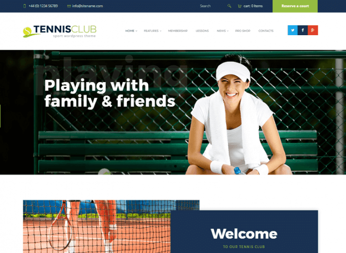 The Tennis Club homepage showing a background image with a caption written on the image. There is a header menu with social sharing buttons, and at the top-left the contact information is displayed.