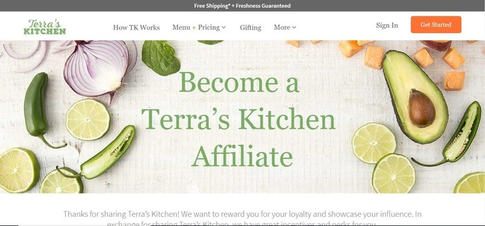 screenshot of the affiliate sign up page for Terra's Kitchen