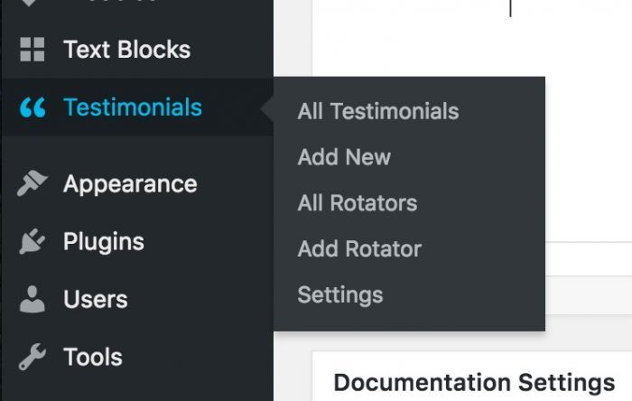 "A closeup on the ""Testimonials"" tab inside the WordPress dashboard. It allows you to either view your existing testimonials on the backend, add a new one, view or add rotators, as well as manage the settings."