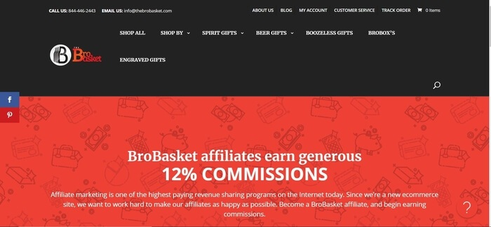 screenshot of the affiliate sign up page for The Bro Basket
