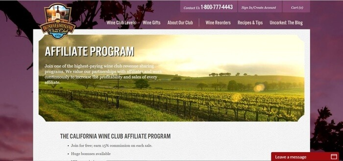screenshot of the affiliate sign up page for The California Wine Club