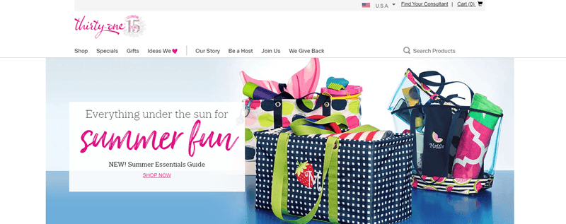 Thirty-One website screenshot showing three bags from the company, each filled with various items for the summer.