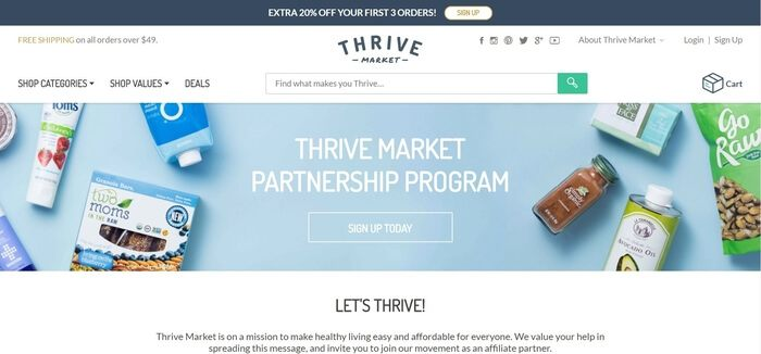 screenshot of the affiliate sign up page for Thrive Market
