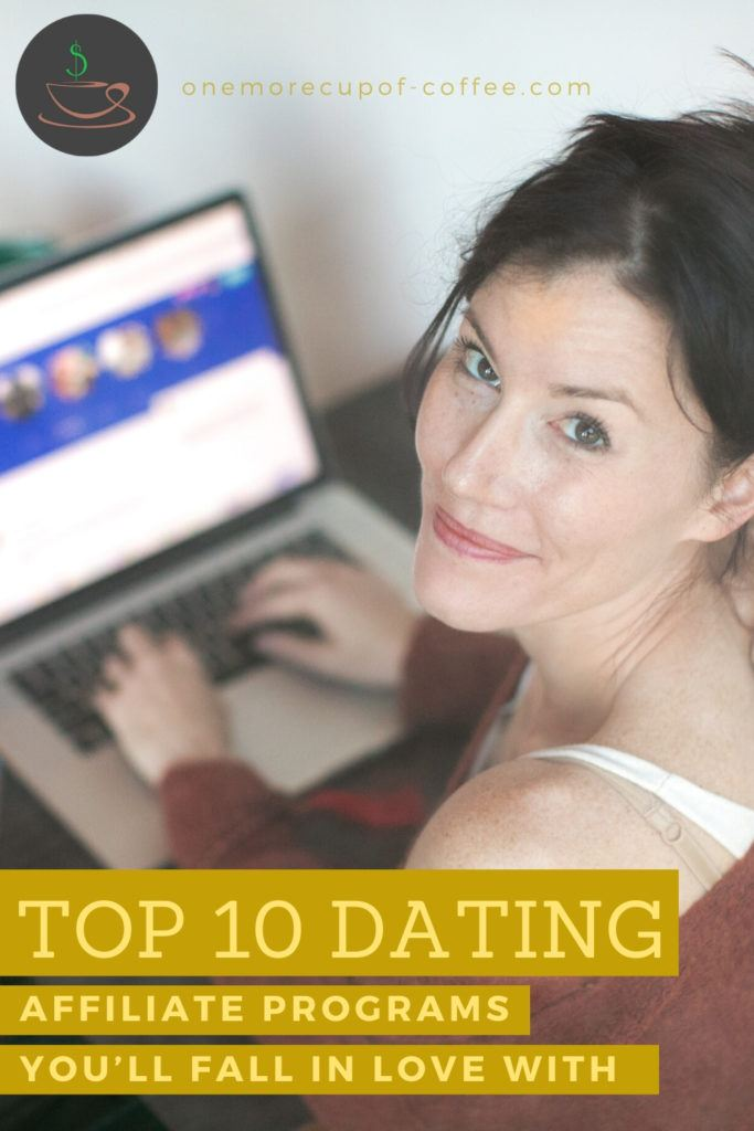 woman browsing a dating website on laptop with text overlay