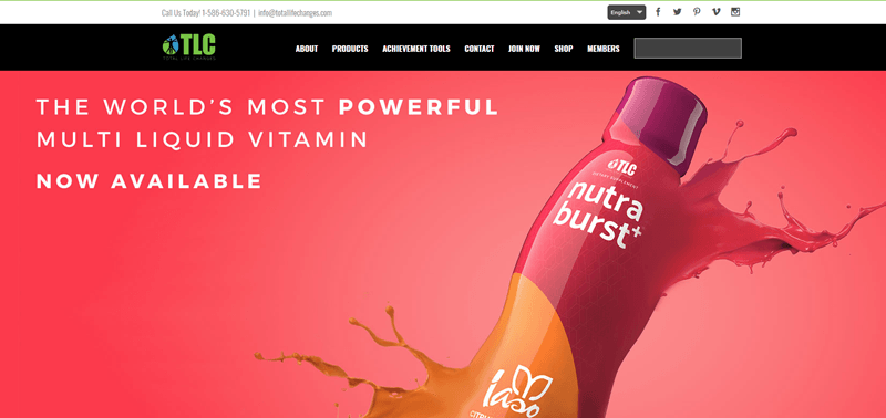 Total Life Changes website screenshot showing a peach background with an image of the company's Nutra burst+ bottle.