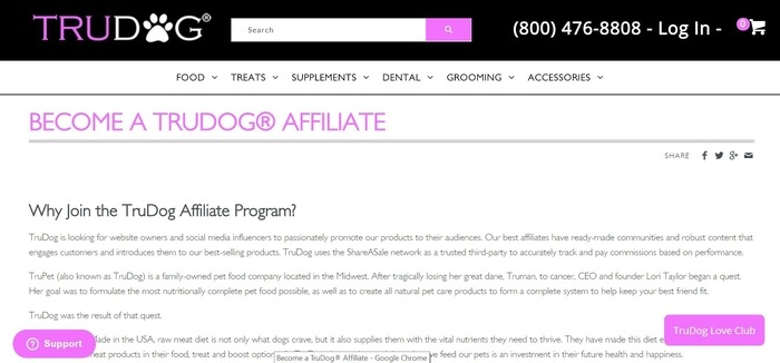 screenshot of the affiliate sign up page for TruDog