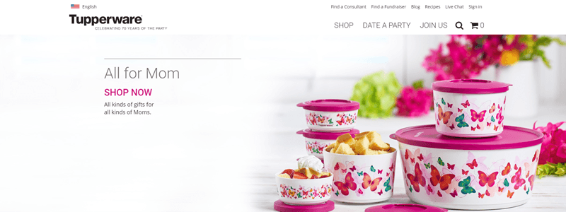 Tupperware website screenshot showing a range of pink lidded Tupperware pieces with butterflies.