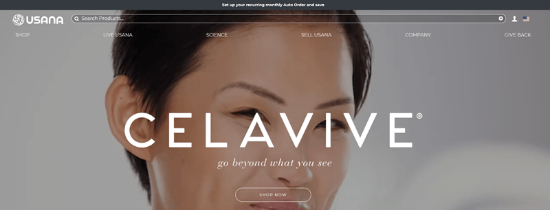 USANA website screenshot showing a young Asian woman looking at the camera with the word Celavive in white across her face.
