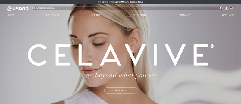 USANA website screenshot showing an image of a blonde woman looking away from the camera.