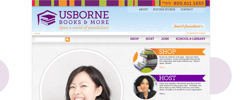 Usborne Books & More website screenshot showing the company's logo, some books and a couple of images of women.