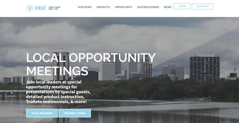 Visi website screenshot showing an outside image of a city next to a waterfront.