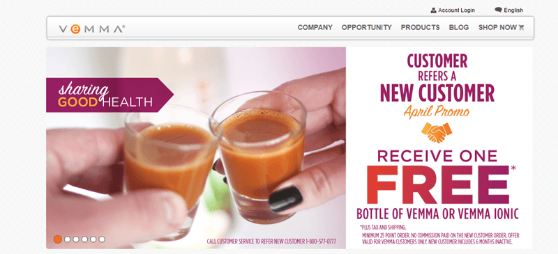 Vemma website screenshot showing two people sharing shots of the Vemma drink.