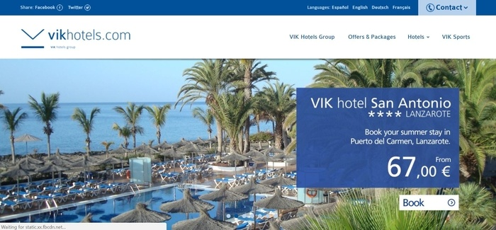 screenshot of the affiliate sign up page for Vik Hotels