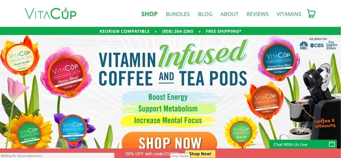 screenshot of the affiliate sign up page for VitaCup
