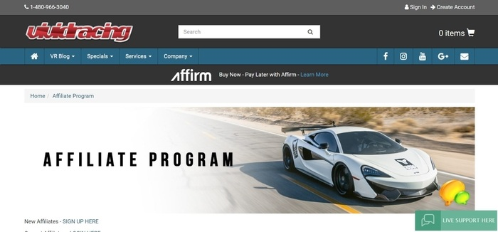 screenshot of the affiliate sign up page for Vivid Racing
