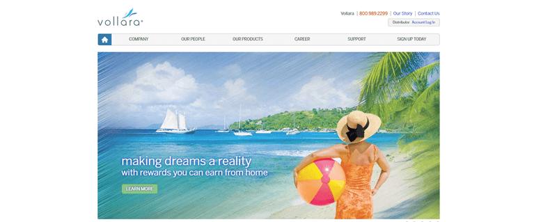 Vollara website screenshot showing a stylized image of a woman on a beach.