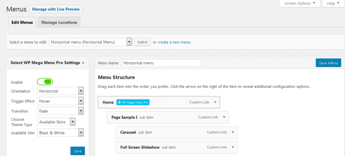 "The ""Edit Menus"" tab inside the WP Mega Menus dashboard. The tab shows a section for the menu settings on the left, and a menu structure editor on the right."
