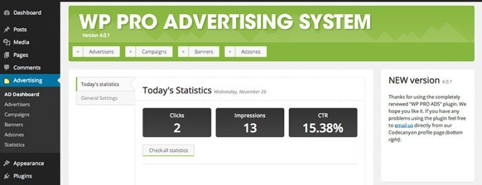The WP Pro Advertising System dashboard showing the day's statistics in terms of total clicks, impressions, and CTR.