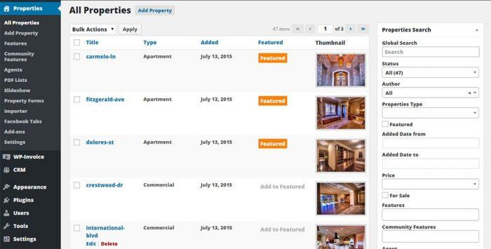 A list of all the property listings as they appear inside the WordPress dashboard. For each property there is a title, type (apartment, commercial, etc.), the listing date, whether they are featured or not, and finally, a thumbnail of the property's image.