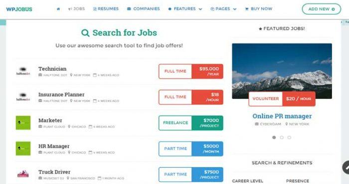 "Search results appearing with a company thumbnail next to each result, as well as the job type and wage/salary. On the right there is a ""Featured Jobs"" widget."