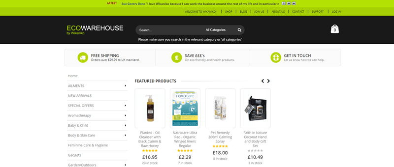 Wikaniko website screenshot showing a small selection of featured products.