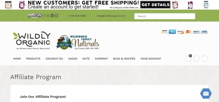 screenshot of the affiliate sign up page for Wilderness Family Naturals