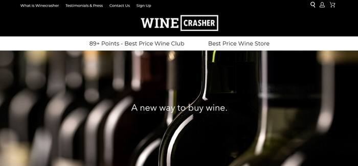 screenshot of the affiliate sign up page for Winecrasher