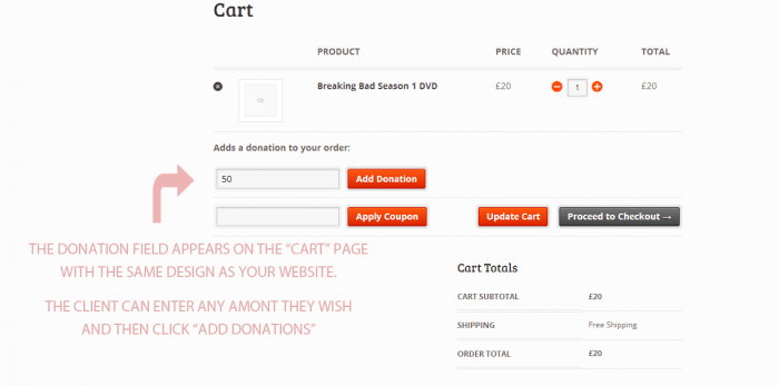 The end-user's shopping cart with an extra field for donations to be paid with the order.