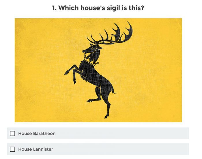 A Game of Thrones quiz showing a symbol and asking which house it belongs to out of two available options.