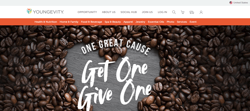 Youngevity website screenshot showing coffee beans on a table with the words 'one great cause' and 'get one give one'.