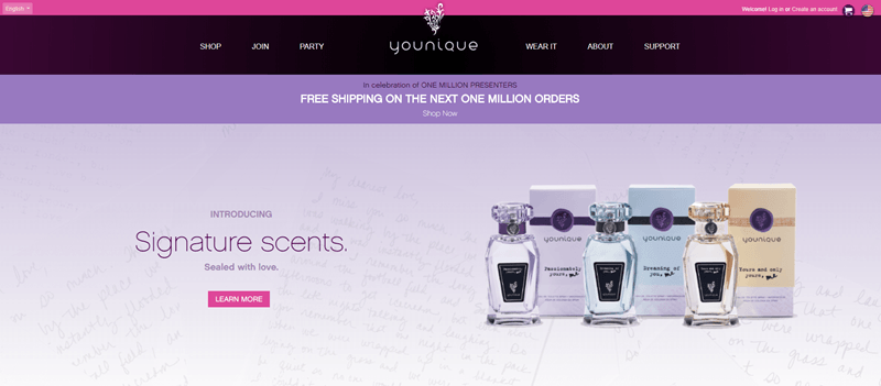 Younique website screenshot showing a light purple background with three signature scents.