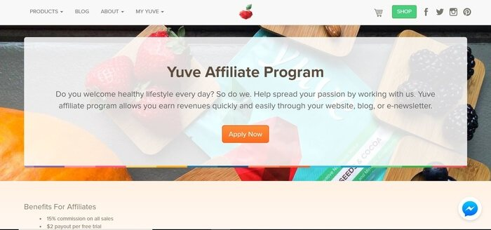 screenshot of the affiliate sign up page for Yuve