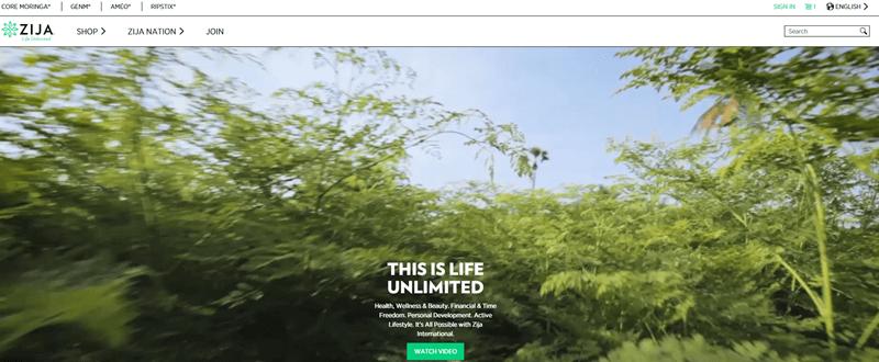 Zija International website screenshot showing green trees and a blue sky.