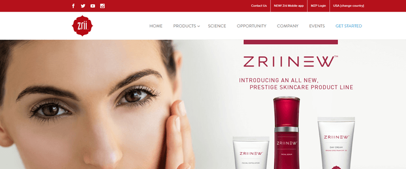 Zrii website screenshot showing the face of a brown-haired and brown-eyed woman, along with the ZriiNew skincare range.