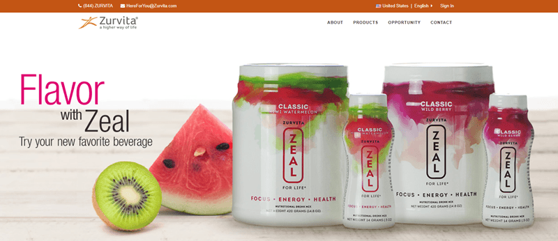 Zurvita website screenshot showing two drink mix powders from Zurvita, along with two ready-made drinks.