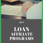 """man filling out loan application form and the phrase """"best loan affiliate programs"""""""