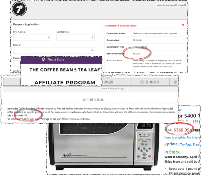 screenshot of multiple companies that have coffee affiliate programs