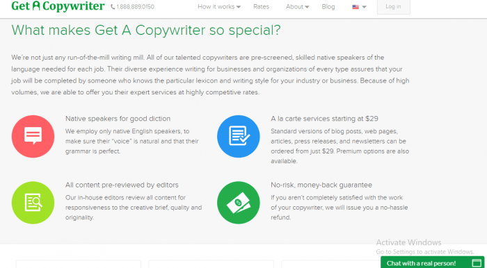The is a screenshot from the web site GetACopywriter.com that details some of the advantages to using this site.