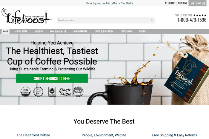 lifeboost coffee affiliate program screenshot