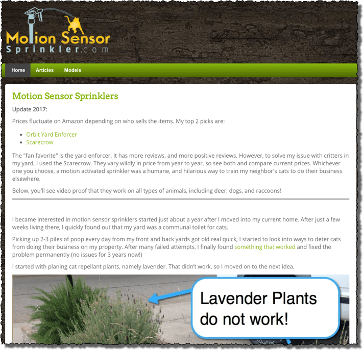 example affiliate website advertising motion sensor sprinklers