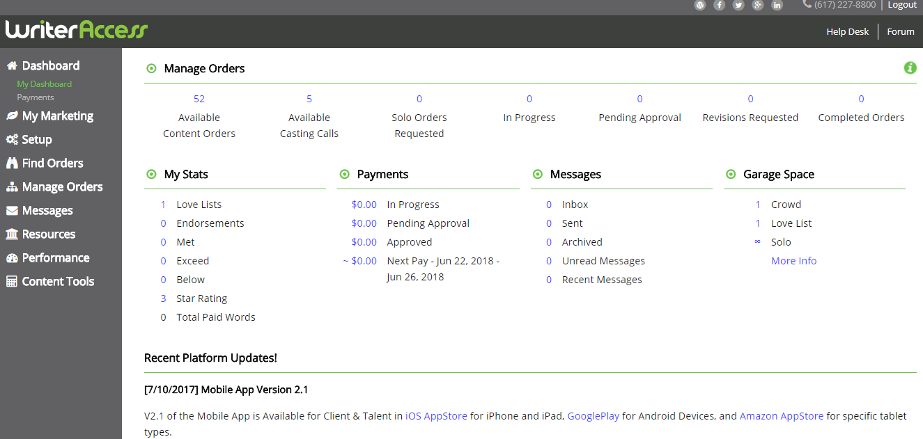This is a screenshot of the dashboard for accepted freelance writers at WriterAccess. The company, which offers work to freelance writers, is one of the most robust such tools available.