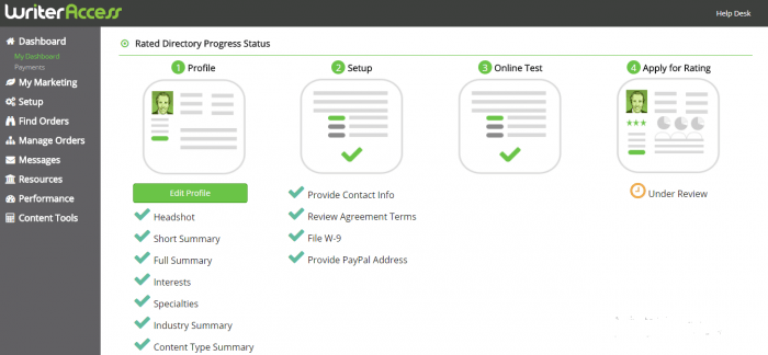 This is an image of the dashboard prospective writers see after providing sign-up information and taking a writer's test.