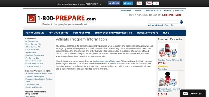 screenshot of the affiliate sign up page for 1800Prepare.com