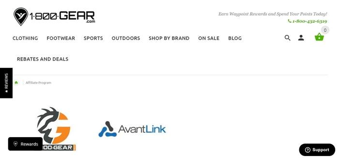 screenshot of the affiliate sign up page for 1800Gear.com