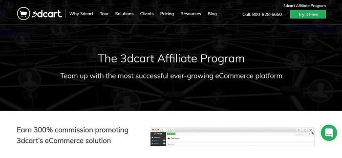 screenshot of the affiliate sign up page for 3dcart