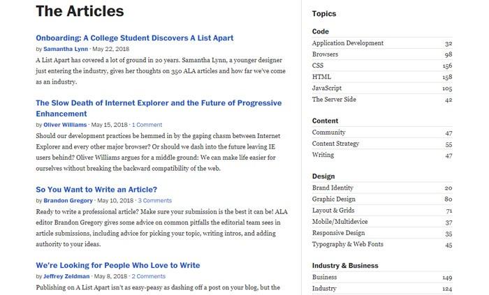A List Apart Article List